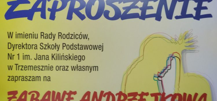 Zaproszenie nazabawę andrzejkową.