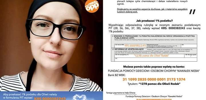 """""""1278 pomoc dla Oliwii Rodak"""". Jak przekazać 1% podatku ?"""