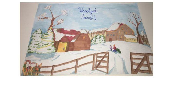 Nikola Wiśniewska zajęła Imiejscew kategorii Świąteczny Pejzaż Zimowy