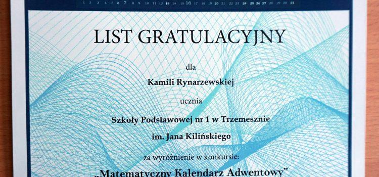 Sukces Kamili Rynarzewskiej